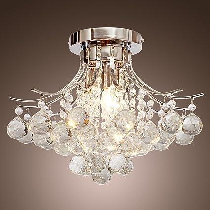 Saint Mossi Modern K9 Crystal Lámpara de araña de lluvia Iluminación Montaje empotrado Lámpara de techo de LED Lámpara colgante para comedor ...