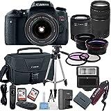 Canon EOS Rebel T6S Digital SLR Camera with EF-S 18-55mm Lens + 75-300mm Zoom Lens Bundle includes Camera, Lenses, Filters, Bag, Memory Cards, Tripod, Flash and More - International Version