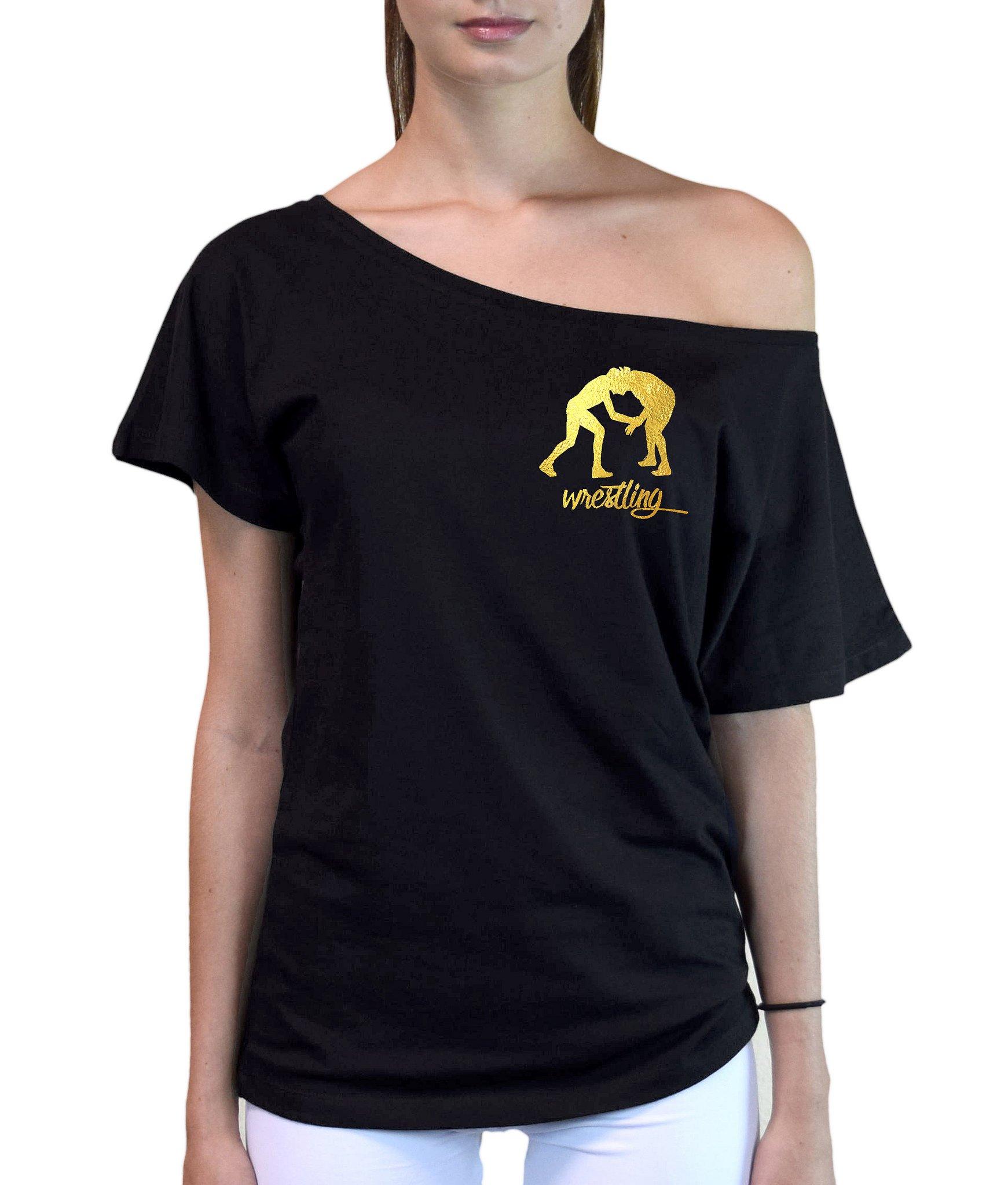 Junior's Gold Foil Wrestling Emblem Black Off-Shoulder T-Shirt Small Black by Interstate Apparel Inc