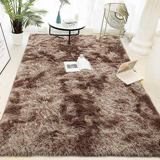 5.3x7.5 Feet Pink Super Soft and Comfy Carpet LOCHAS Luxury Velvet Fluffy Rug Modern Shag Area Rugs for Bedroom Living Room Non Slip Floor Fur Carpets for Kids Home Decor