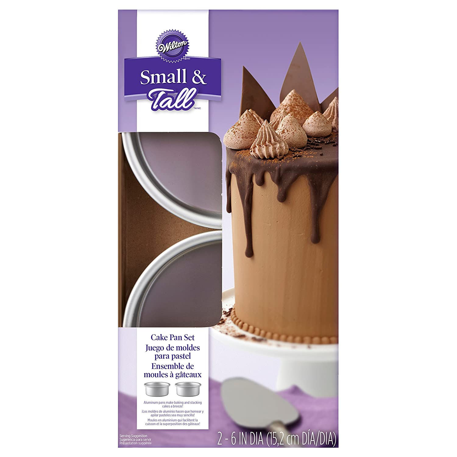 Wilton Small and Tall Aluminum Cake Pans, 2-Piece - Layer Cake Pan Set 2105-5636