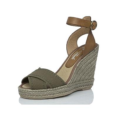 MTBALI Sandalen mit Keilabsatz Alpargata Damen - Modell Sand Kaki