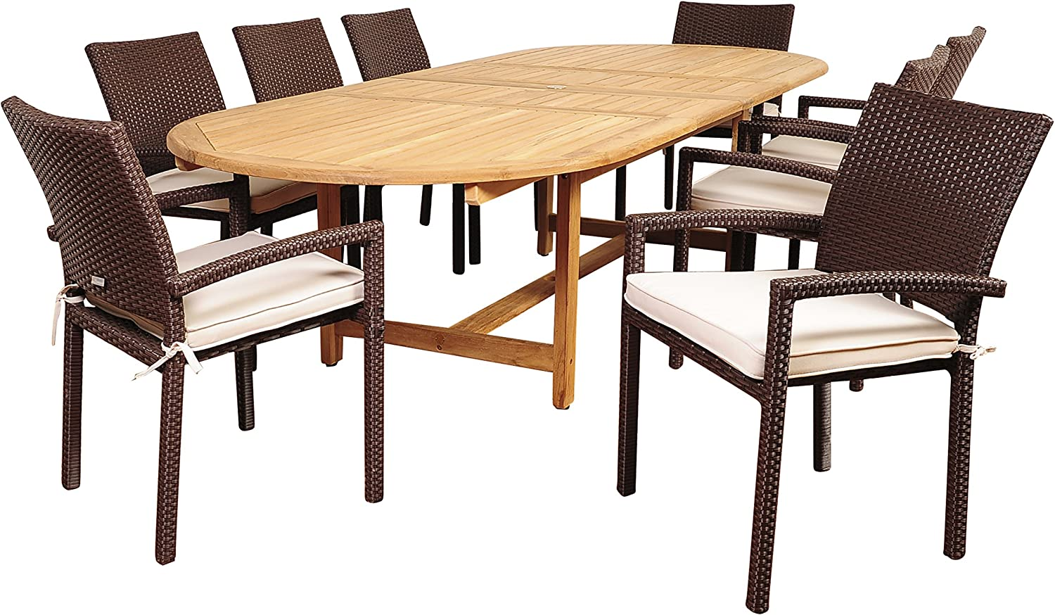 Amazonia Clayton 9 Piece Teak/Wicker Double Extendable Oval Dining Set with Off-White Cushions