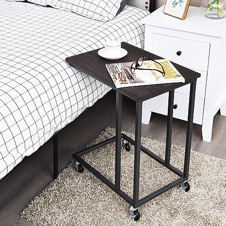 Amazon.com: Tangkula - Mesa auxiliar móvil para sofá, mesa ...
