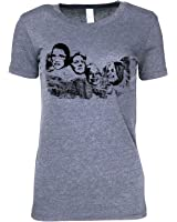 Mt Nasty Great American Women on Mt. Rushmore on woman's cotton t shirt