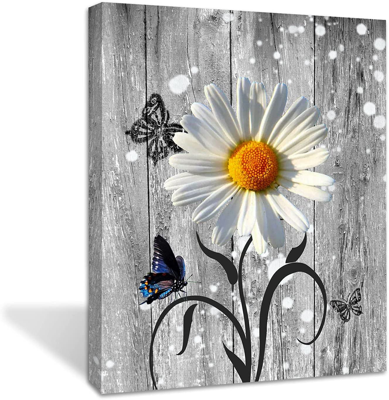 Yellow Daisy Flower Butterfly Wall art on The Gray Wood-Wall Decor -Living Room Bathroom Bedroom Office Wall Decor Home -Ready to Hang(Grey Daisy flowers, 16x20inch)