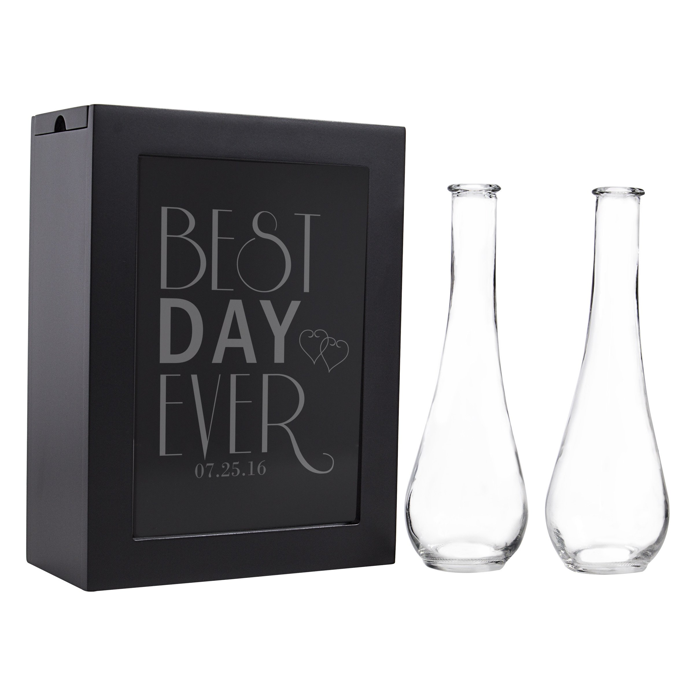 Cathy's Concepts Best Day Ever Unity sand Ceremony Shadow Box Set, Black with Date