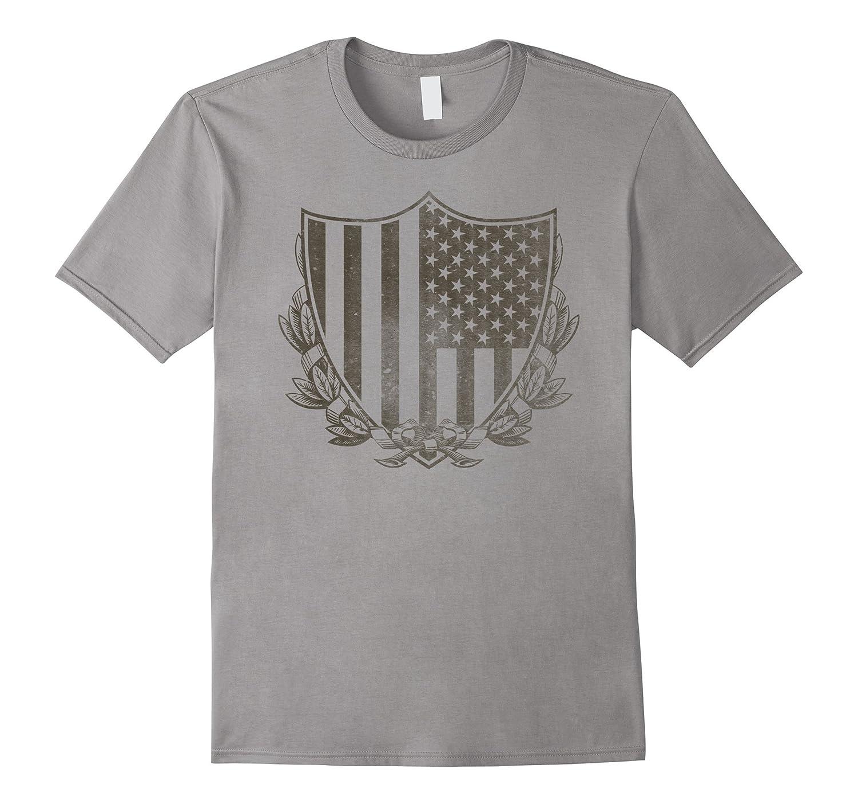 Vintage Subdued American Flag Shield T-Shirt-Art