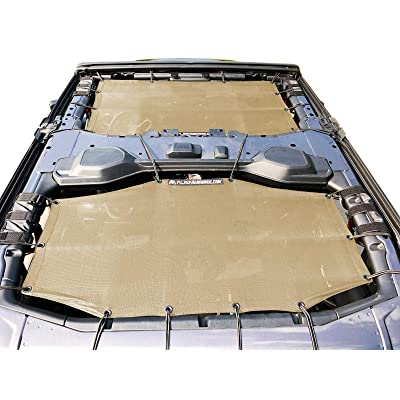 Alien Sunshade Jeep Wrangler Sunshade Jeep JL 4 Door 2-Piece Front & Rear Jeep JL Sunshade Top 2020+ (Tan): Automotive