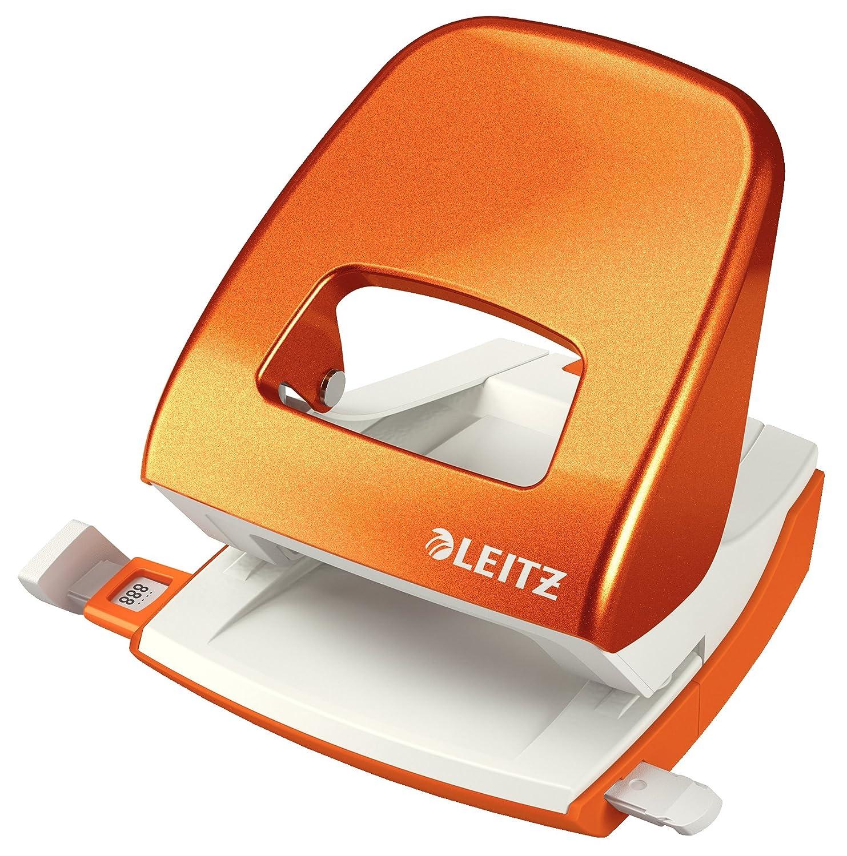 Leitz Perforatore a 2 fori WOW NeXXt Grigio 50080085 30 fogli Guida di arresto con sistema di fissaggio Metallo
