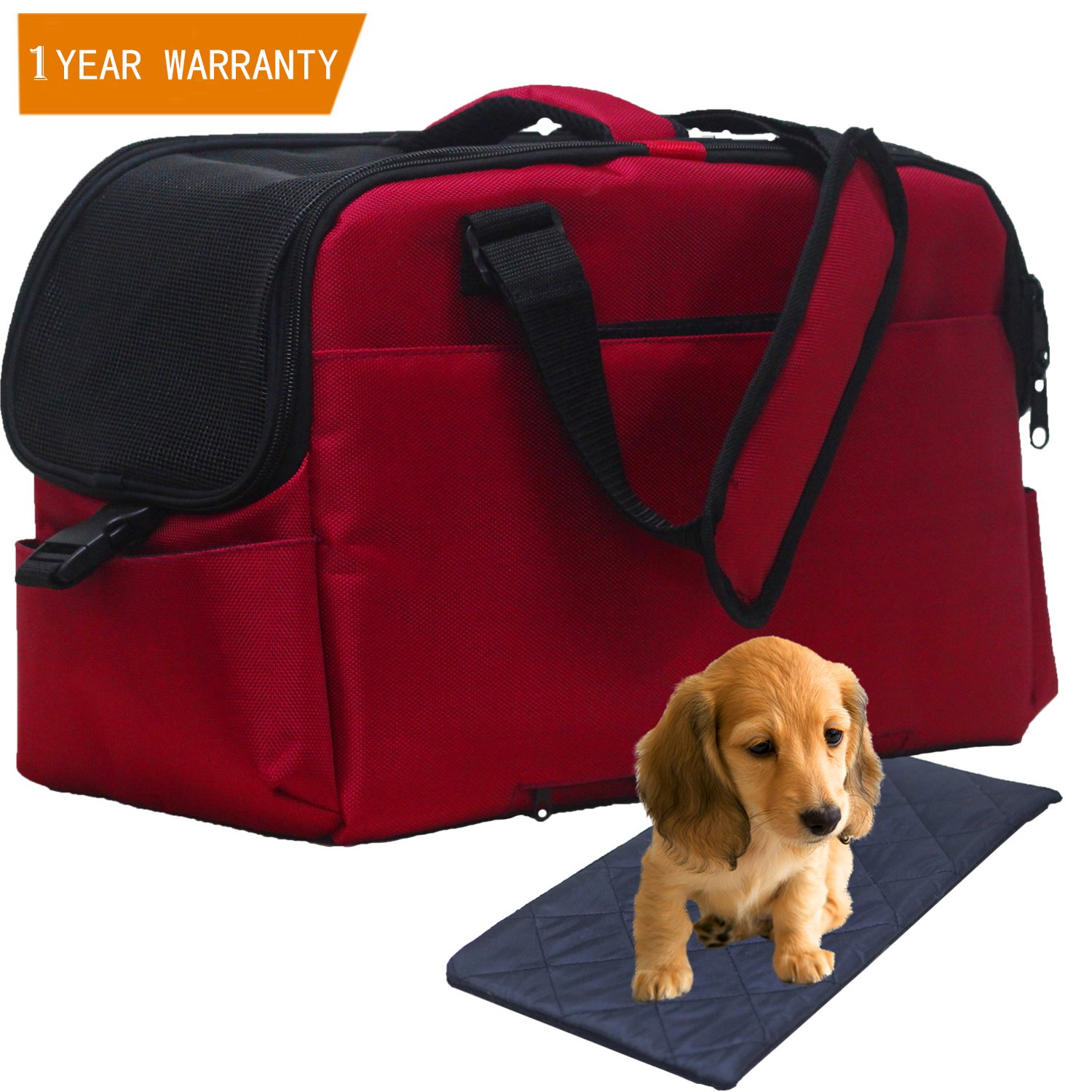 Pet Carrier, Airline Approved Soft Sided Travel Bag for Small Dogs and Cat Under Seat Portable & Foldable Animal Tote With Airy Windows Locking Zippersand Spacious Soft Pad for Puppies, Kitten Red
