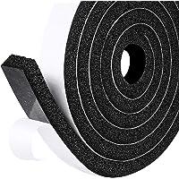 Fowong Open Cel Zelfklevende Foam Sealing Tape 25mm(W)x12mm(T)x2M(L)x2PCS Zwarte Foam Tape Witte Achterfilm