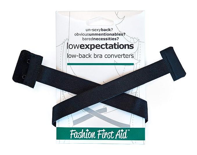 FASHION FIRST AID: Low Expectations BH-Verlängerung Rückenkonverter Erweiterung Tiefer BH-Verschluss Rückenfrei Schwarz Extra