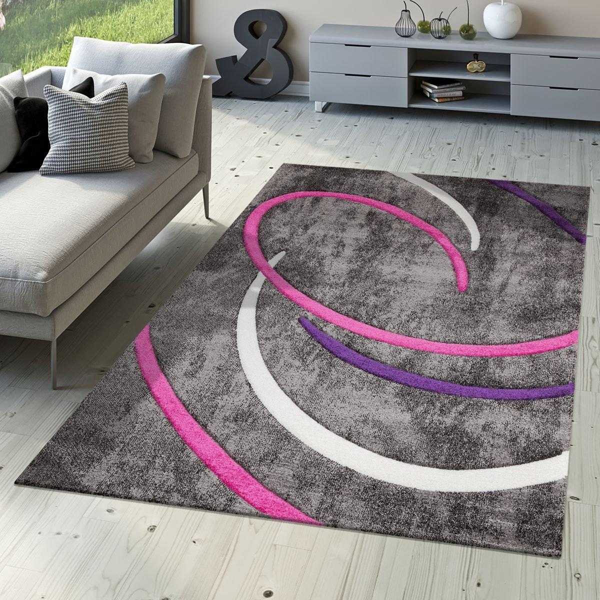 T&T Design Kurzflor Wohnzimmer Teppich Modern Ebro mit Spiralen Muster in Grau Lila Creme, Größe:200x290 cm
