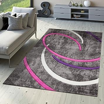 T&T Design Kurzflor Wohnzimmer Teppich Modern Ebro mit Spiralen ...