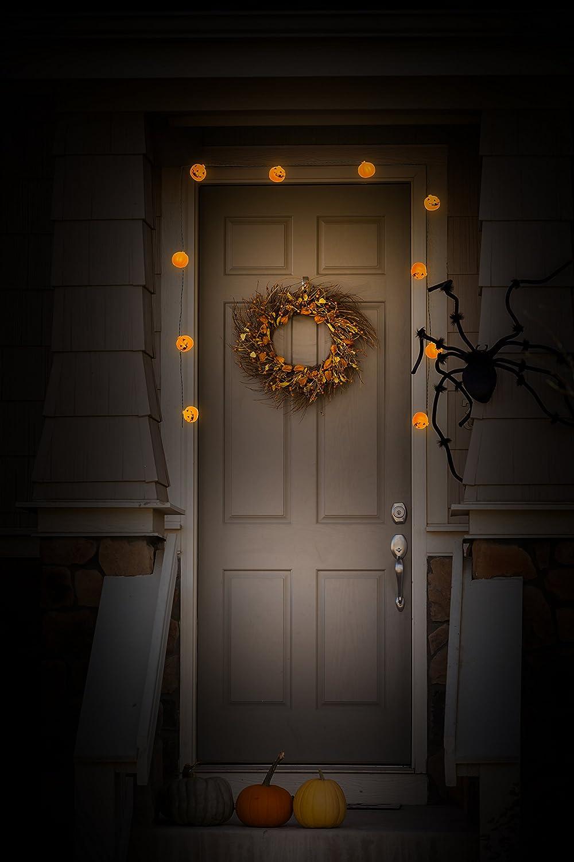 Halloween Decorations. 10 Big 3 Inch Battery Powered Jack o Lantern Blinking Lights with Motion Sensor and Halloween Music Skull Top Race Halloween String Lights