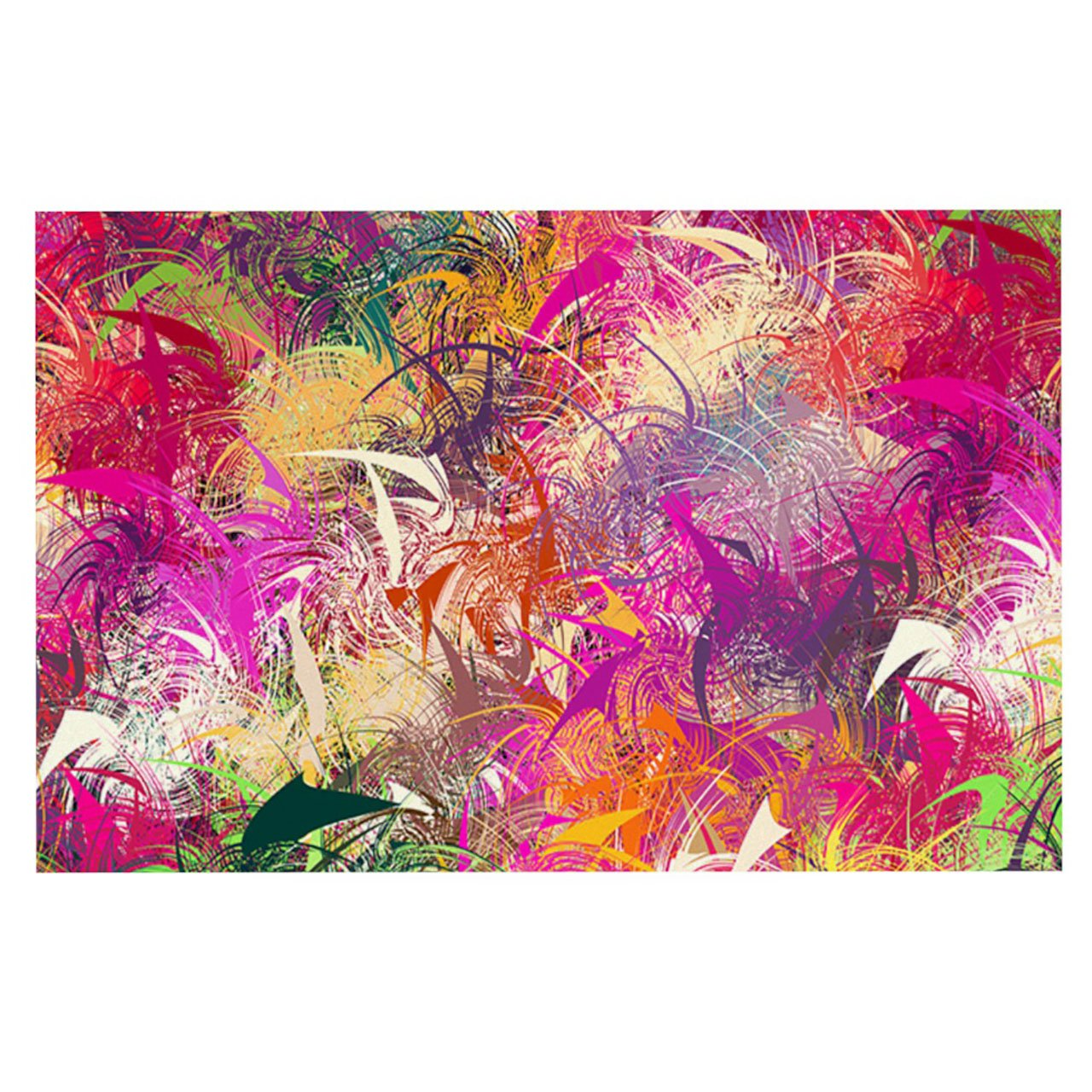 Kess InHouse Danny Ivan Splash Pet Bowl Placemat for Dog and Cat Feeding Mat, 18 by 13-Inch, Rainbow Abstract