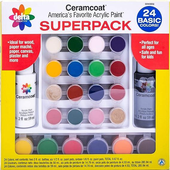 Amazon.com: Delta Creative Basic Super Pack Paint Set, 029400056 (24 Colors)