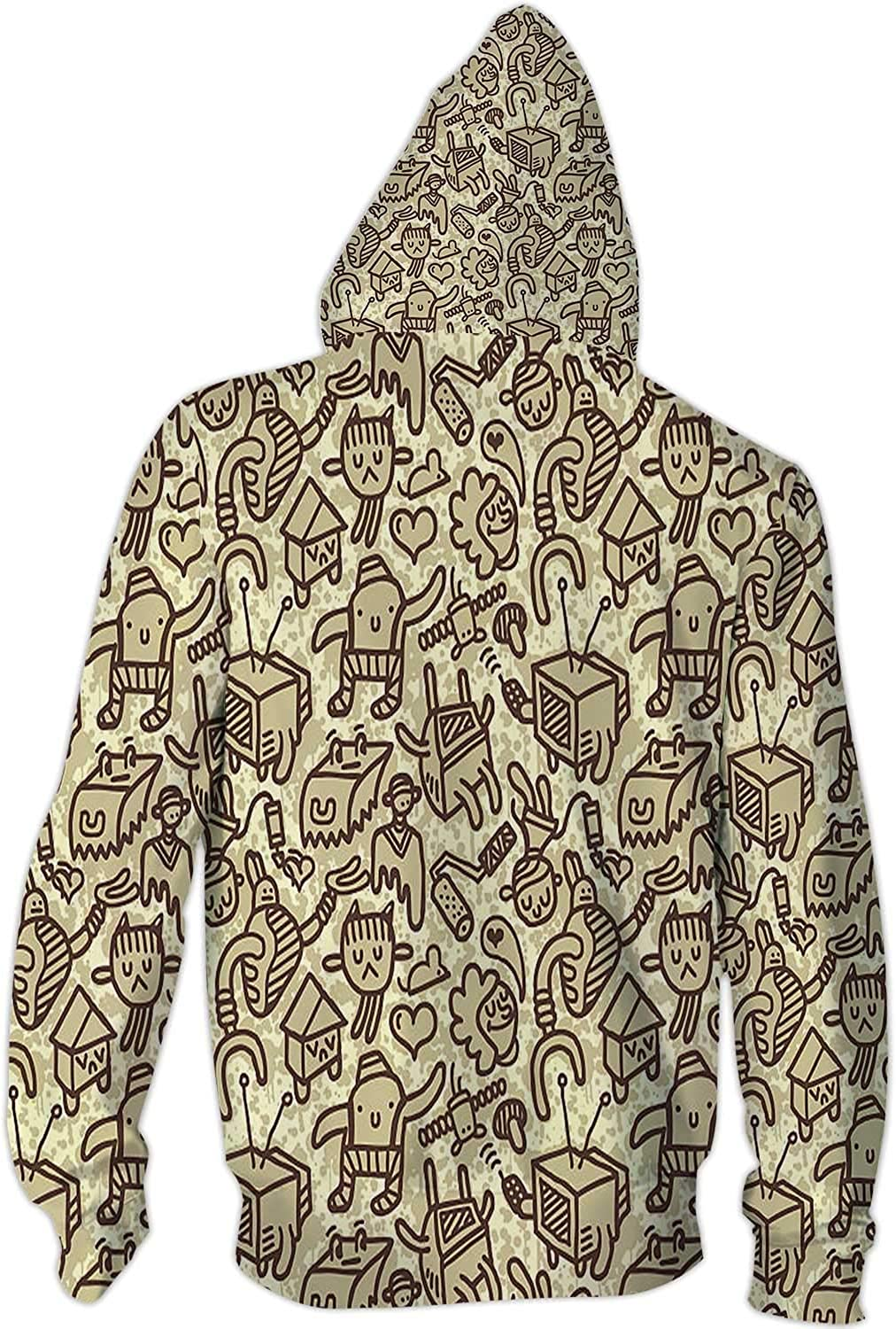Illustration Street Art,Men//Womens Warm Outerwear Jackets and Hoodies Pattern S Seamless Doodle Background