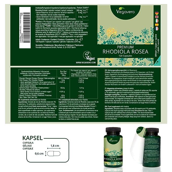 Rhodiola Rosea PREMIUM 275 mg | 3% Rosavines + 1% Salidrosida | Concentración + Memoria + Energía + Estrés + Ansiedad | 120 Cápsulas | Sin Aditivos ...
