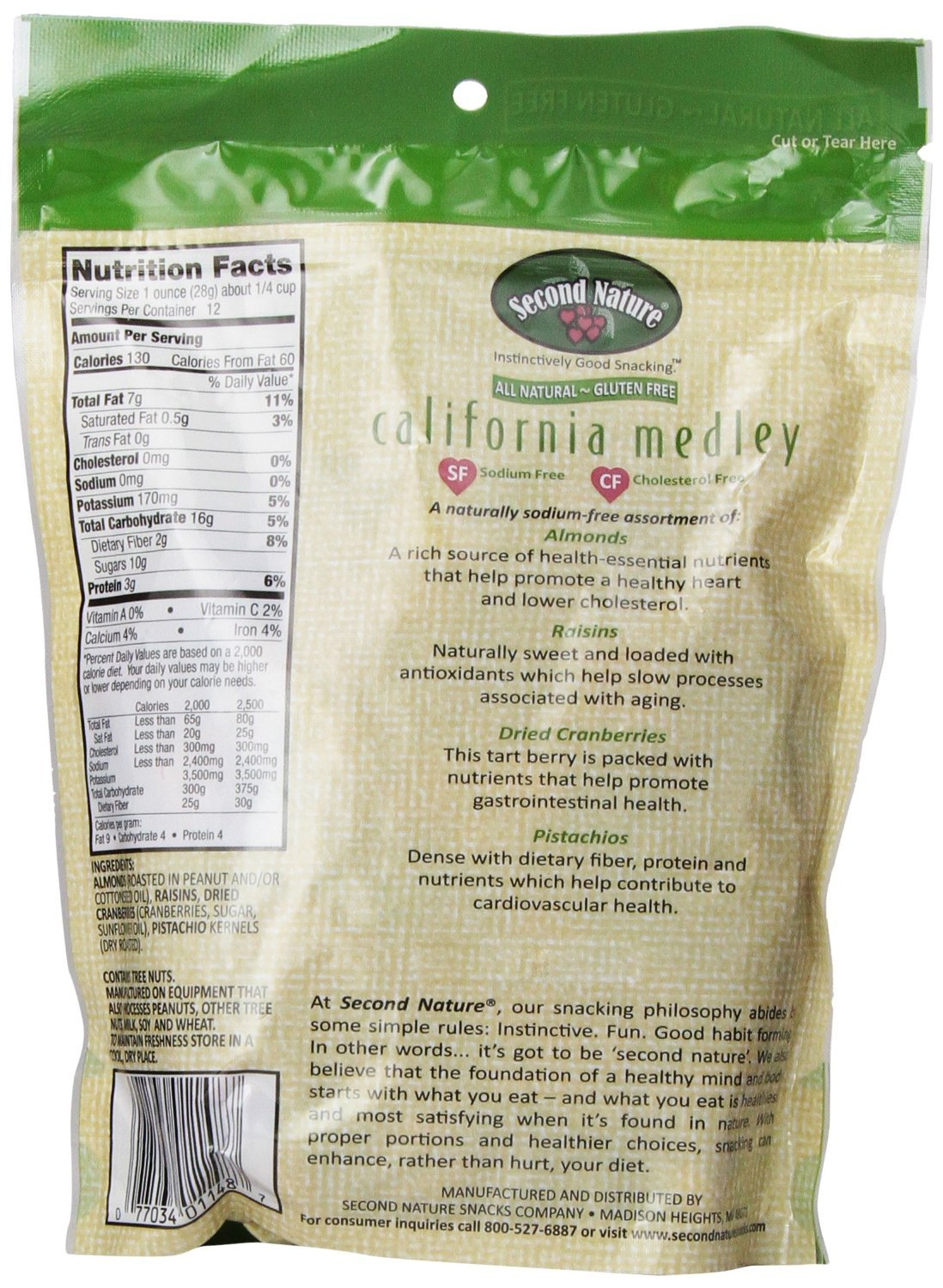 Second Nature California Medley All Natural Trail Mix, 26oz. Roasted Almonds, Pistachios, Raisins, and Dried Cranberries. Sodium-Free. Resealable Bag for Freshness. by Second Nature (Image #2)