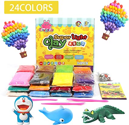 Air Dry Clay 24 Colors Modelling DIY Creative Educational Moulding Toys Set Gift