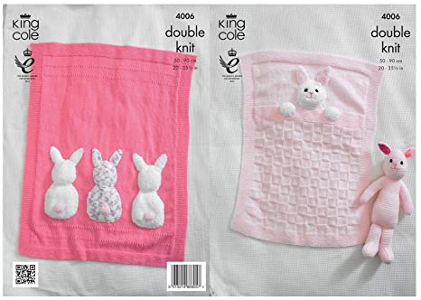 39e6ee404 King Cole 4006 Knitting Pattern Baby Blankets and Bunny Rabbit Toy ...