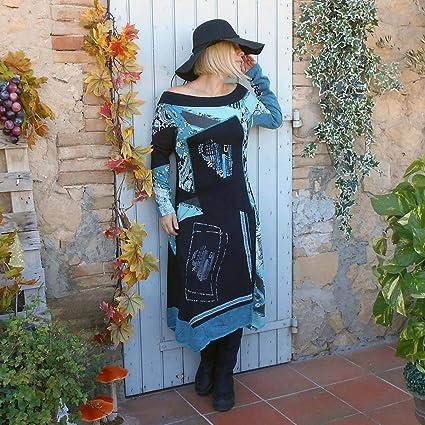 Coklico - Robe Maxi esprit Desigual - Modèle Chèvrefeuille - 42 44 46 48 -  Bleu   Rouge (4 42 44, bleu)  Amazon.fr  Vêtements et accessoires e1a9d8f19cad