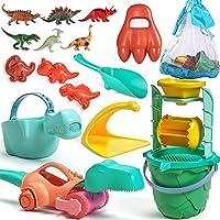 Tobeape Kids Beach Toys Set, Dinosaur Sand Toys for Toddlers, Kids Bucket and Shovel Set, Include Beach Bag, Sand Water…