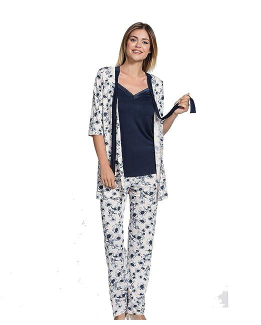Caroline - Pijama - para mujer Cream, Blue L