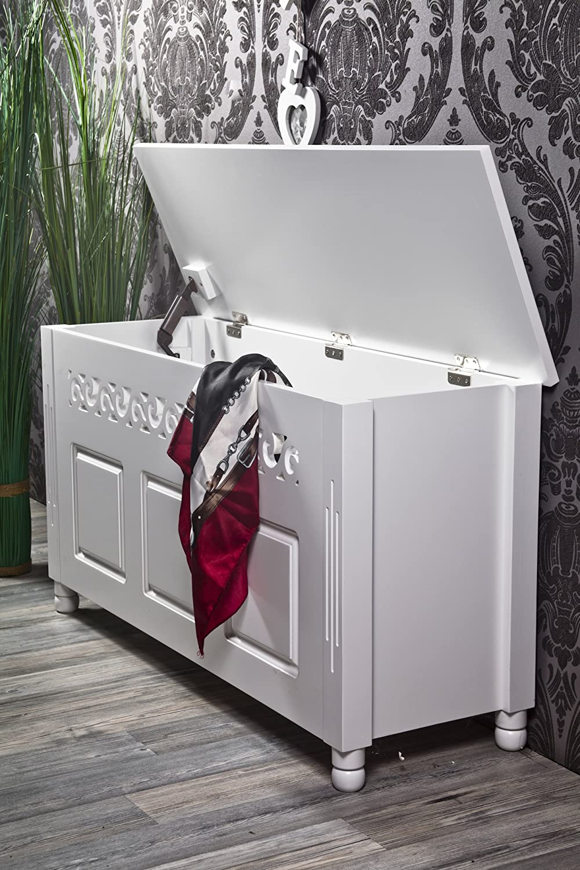 Bank truhenbank weiß rosalia landhaus *356: amazon.de: küche ...
