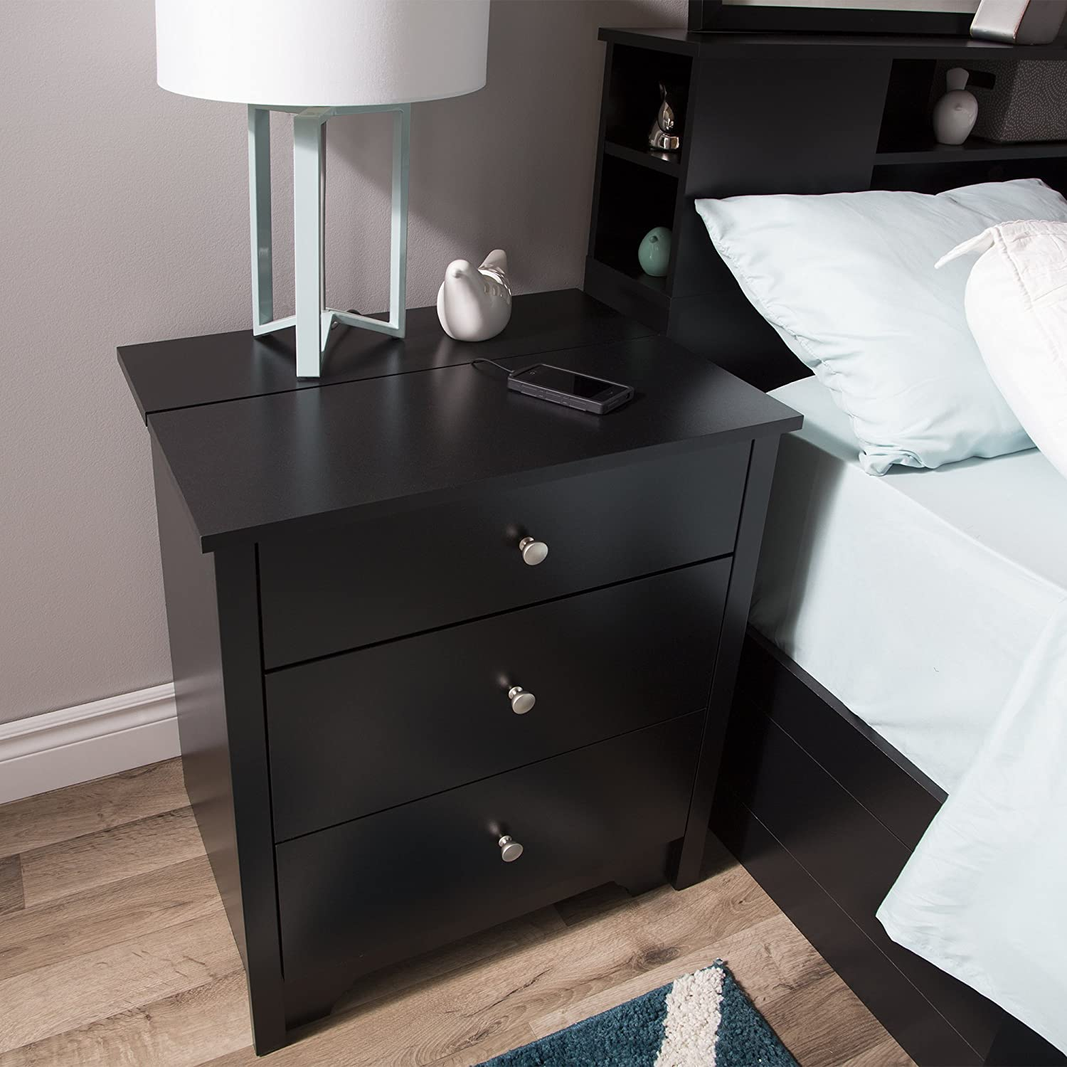 South Shore Furniture Vito Nightstand with Charging Station and