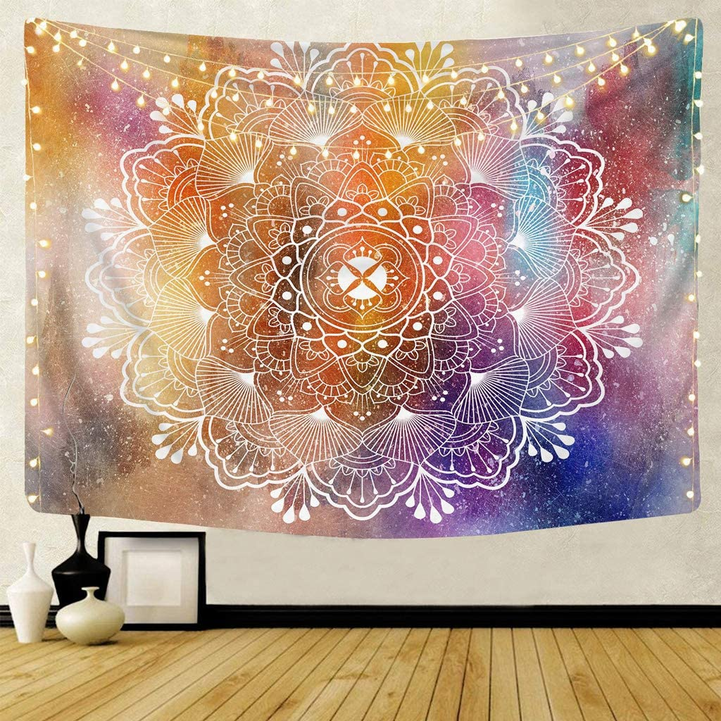 GRAJTCIN Indian Hippie Mandala Tapestry Wall Hanging, Purple Bohemian Aesthetic Indoor Wall Decor for Living Room Bedroom(Mandala 01, 51.2