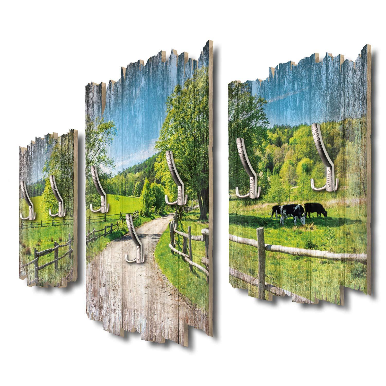 Kreative Feder Spaziergang auf dem Land Designer Wandgarderobe Flurgarderobe Wandpaneele 95 x 60 cm aus MDF DTGH035
