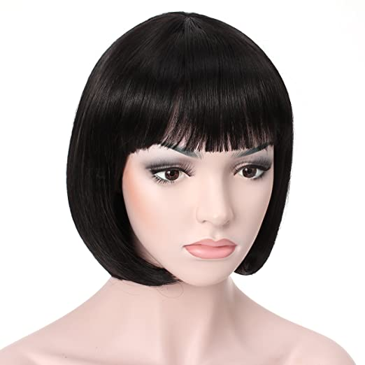 "Roaring 20s Costumes- Flapper Costumes, Gangster Costumes OneDor 10"" Short Straight Flapper Bob Heat Friendly Cosplay Party Costume Hair Wig (1B-Off Black) $16.99 AT vintagedancer.com"