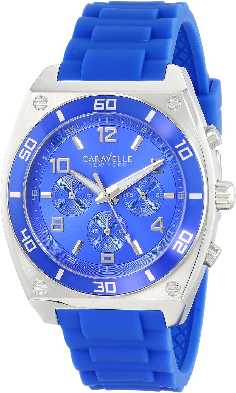 Caravelle New York Men s 45A115 Analog Display Japanese Quartz Blue Watch