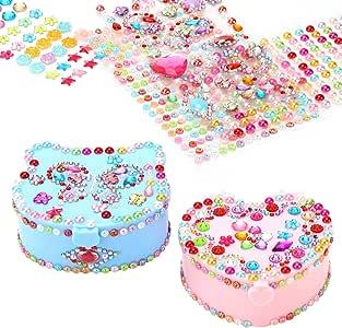 HFIOT - Caja de joyería pequeña para niños, kit de manualidades creativas con espejo, suministros de regalo para niñas y niñas, decoración para manualidades (3,8