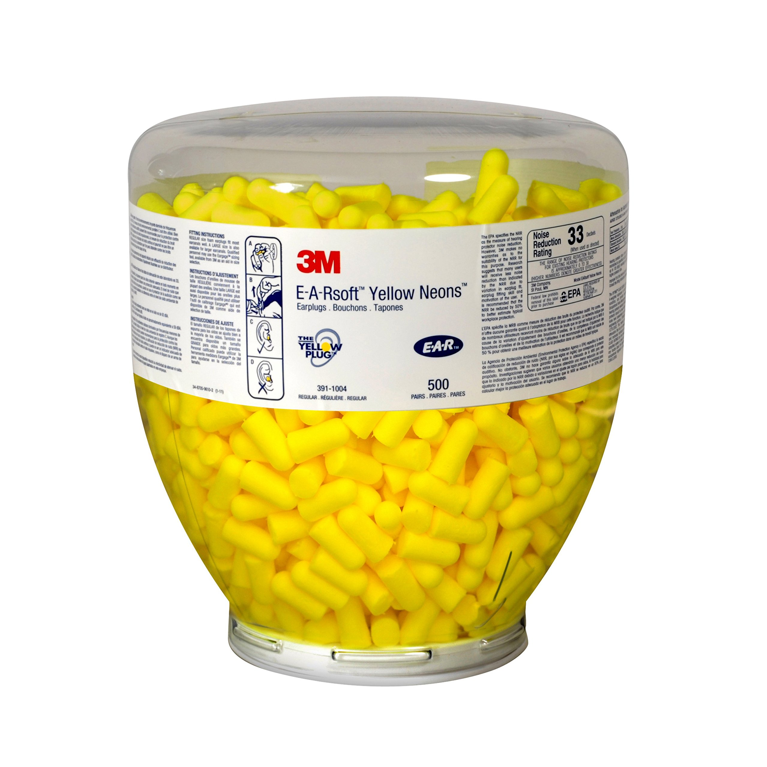 3M E-A-Rsoft Yellow Neons One Touch Refill Earplugs 391-1004 (500 Pairs) by 3M Personal Protective Equipment