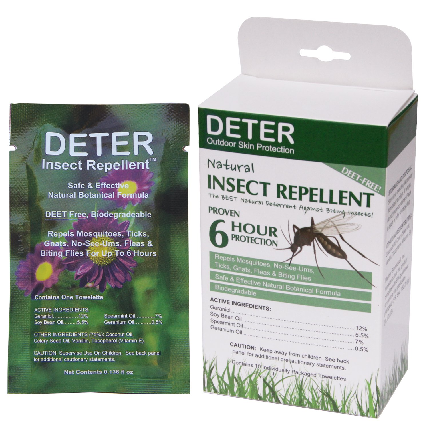 Deter Natural Insect Repellent Wipes 10 Towelettes by Deter: Amazon.co.uk: Sports & Outdoors