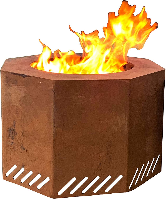 Amazon Com Titan Corten Steel Near Smokeless Wood Burning Backyard Fire Pit 16 In X 24 In Garden Outdoor
