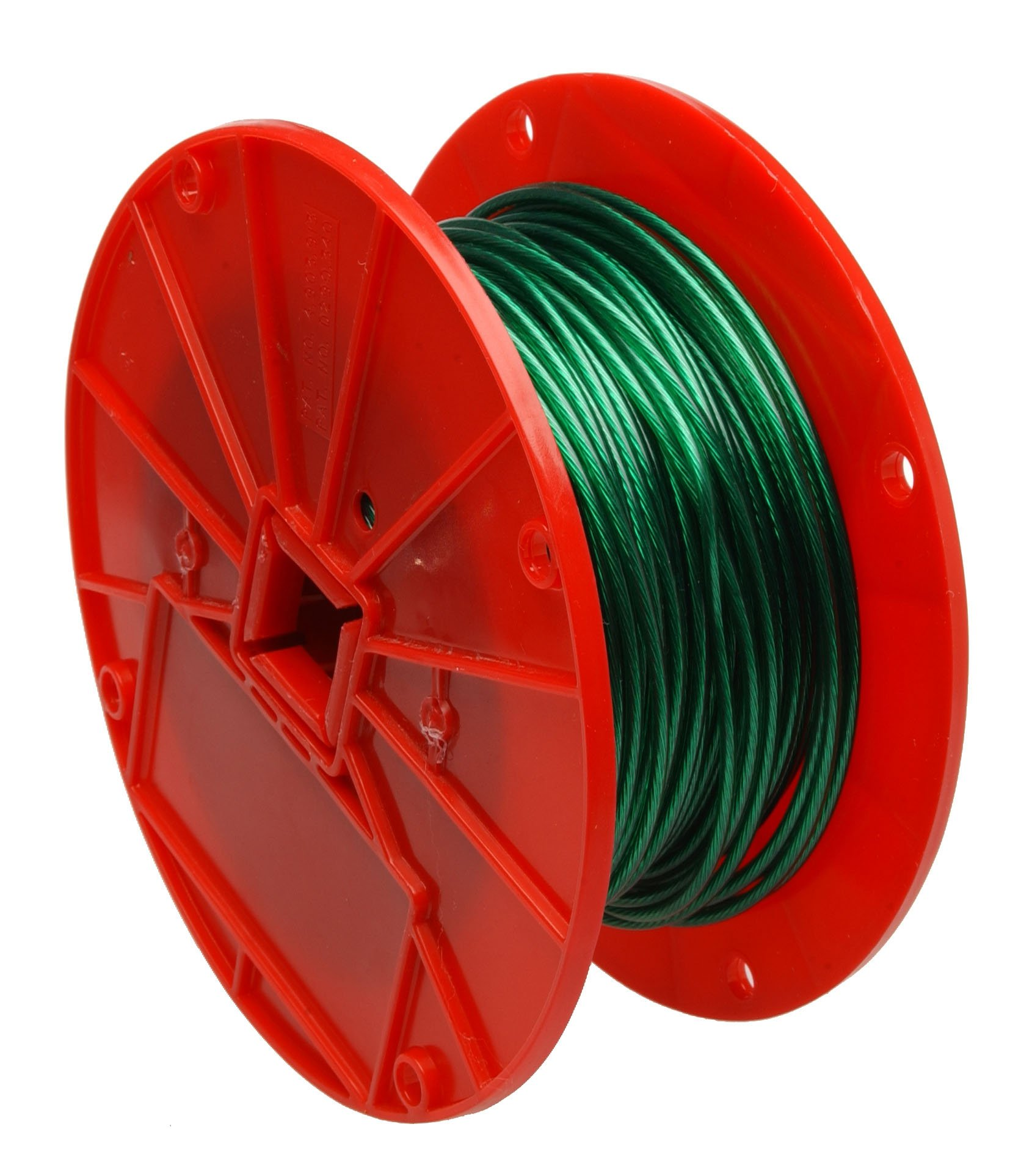 Galvanized Steel Wire Rope on Reel, Vinyl Coated, 1x7 Strand, Green, 1/16'' Bare OD, 1/8'' Coated OD, 250' Length, 28 lbs Breaking Strength