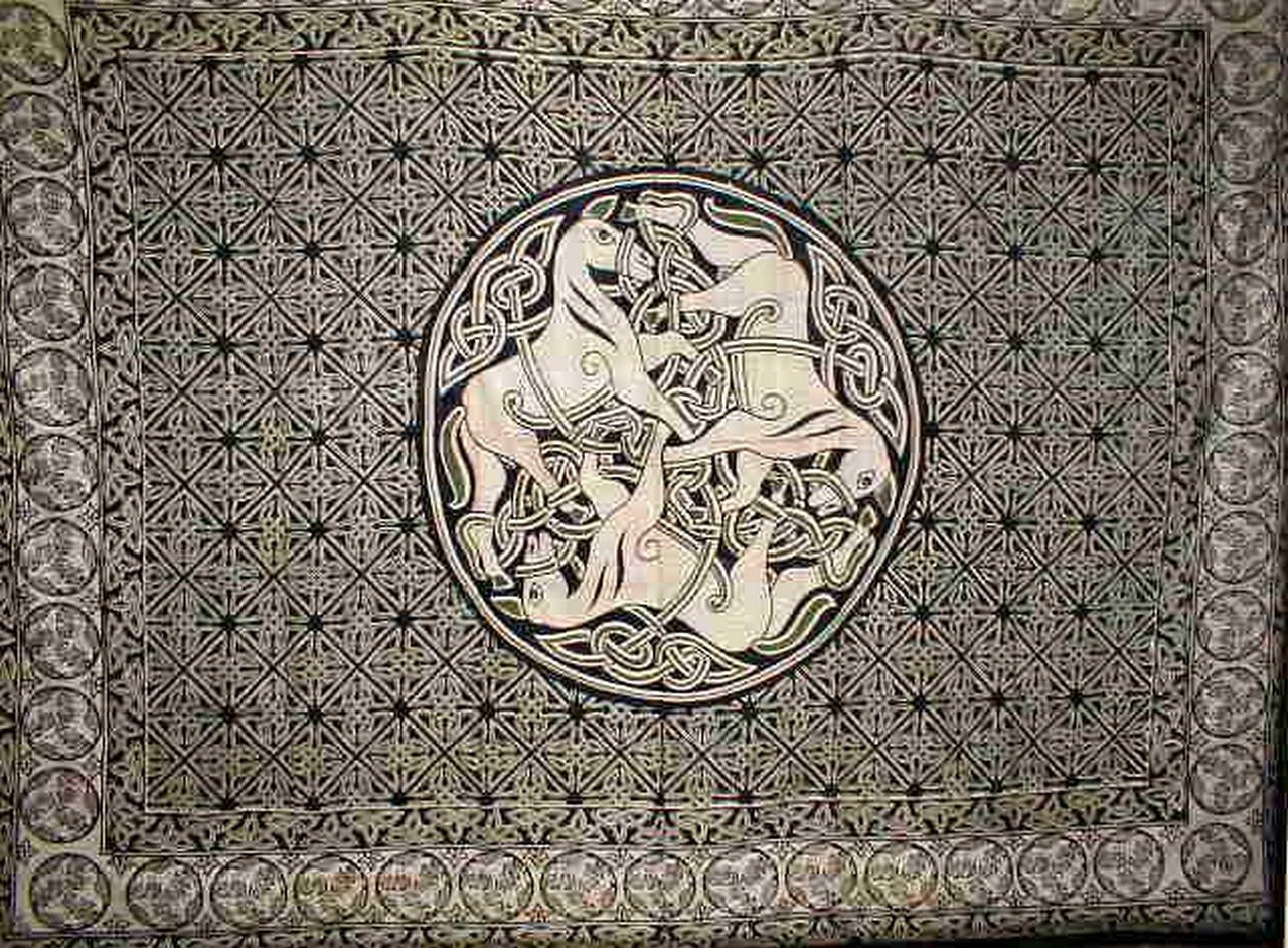 Celtic Horses Tapestry Cotton Bedspread 108'' x 88'' Full-Queen Green