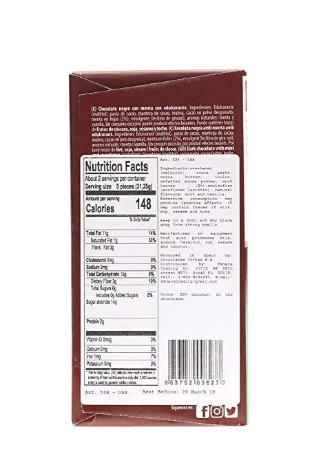 Amazon.com : Torras Sugar Free and Gluten Free Dark Chocolate Bar - Mint (4 Pack) : Grocery & Gourmet Food