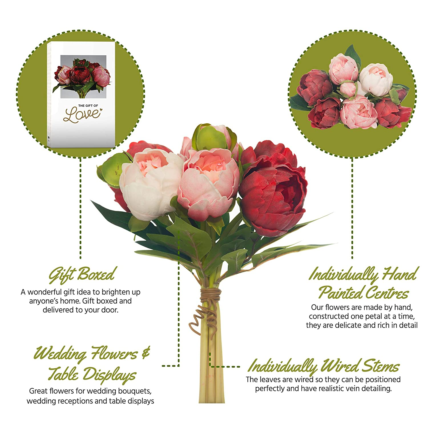 Peonies Real Touch Latex Peonies Hand Made-Petals Rich in Detail Pink/Soft Pink Comes Boxed- Peony Bouquet 6 Flowers 2 Buds-Perfect Flower Gift- Pink Latex Flowers