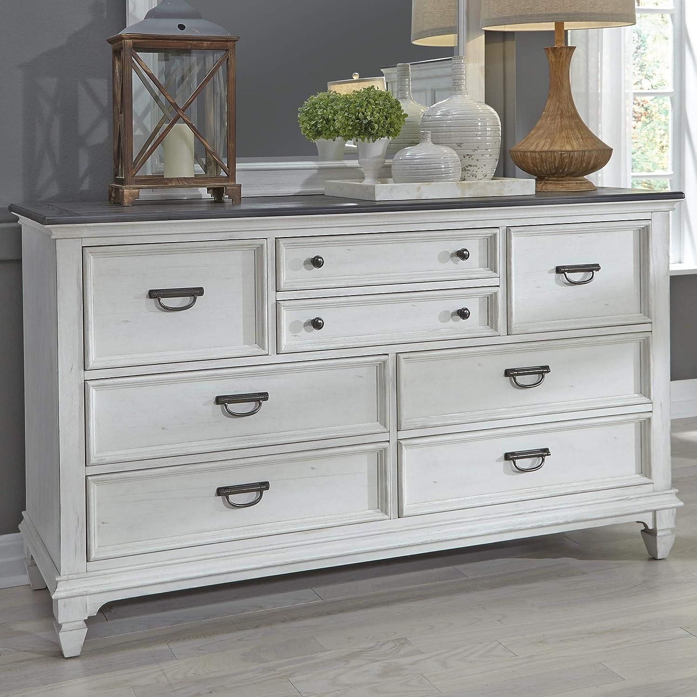 Liberty Furniture Industries Allyson Park 8 Drawer Dresser, W66 x D19 x H38, White