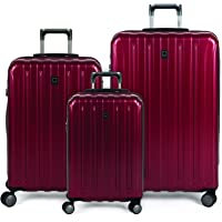 DELSEY Paris Titanium Hardside Expandable Luggage with Spinner Wheels, Black Cherry Red, 3-Piece Set (19/25/29)