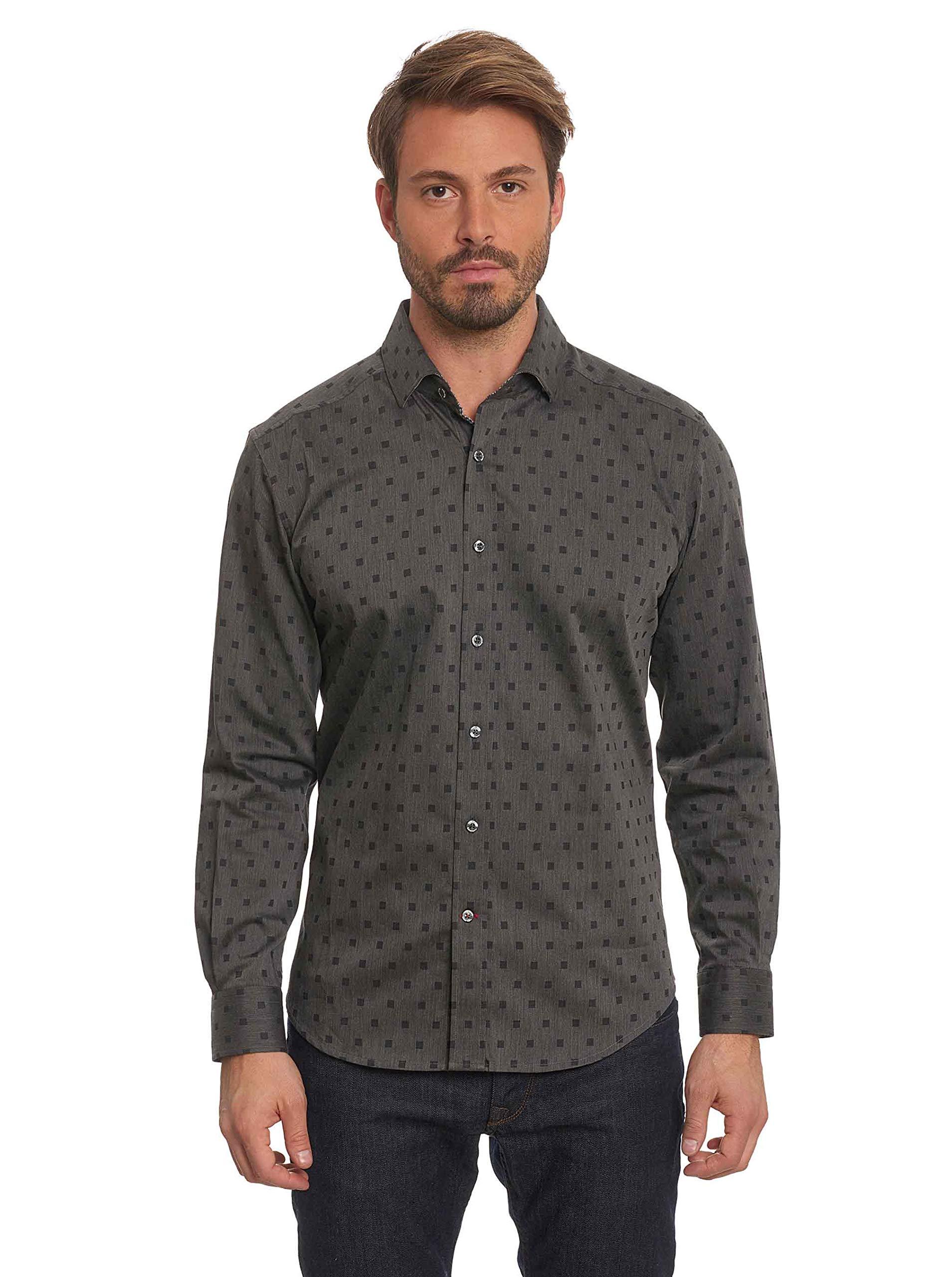 Robert Graham Gabe Long Sleeve Printed Woven Sport Shirt Big and Tall Black 4Xlarge