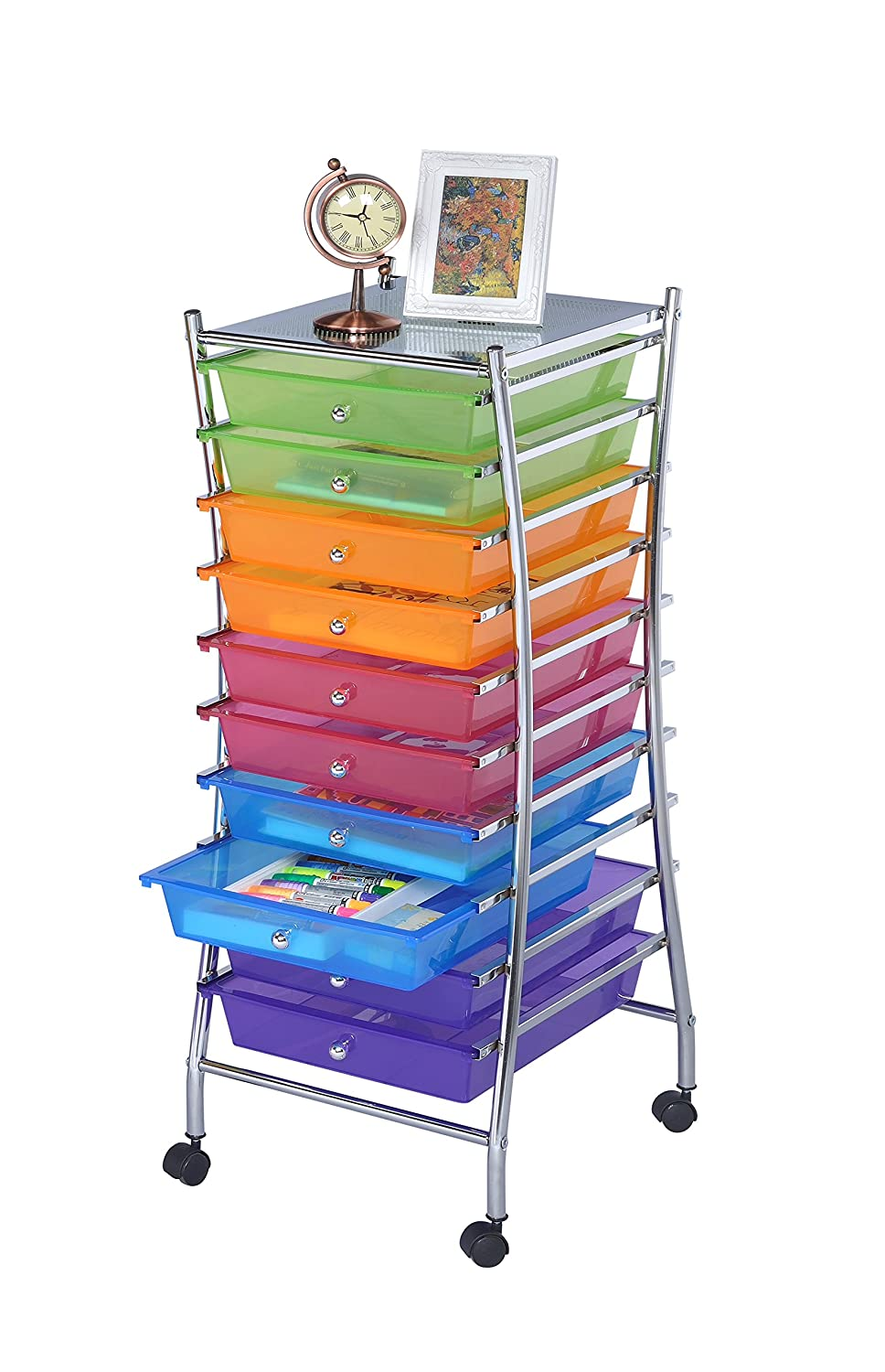 Amazon.com : Finnhomy 10 Drawer Rolling Storage Cart Utility Mobile  Organizer With Drawers For Office, Home, Beauty Salon Bright Chrome Metal  Frame And ...