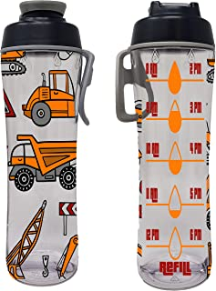 product image for Water Bottle for Kids With Time Markers - Motivational Bottles Remind Boys & Girls To Drink Water All Day - BPA Free, Leak Proof Plastic Bottle with Chug Cap & Carry Loop - USA Made (Construction)