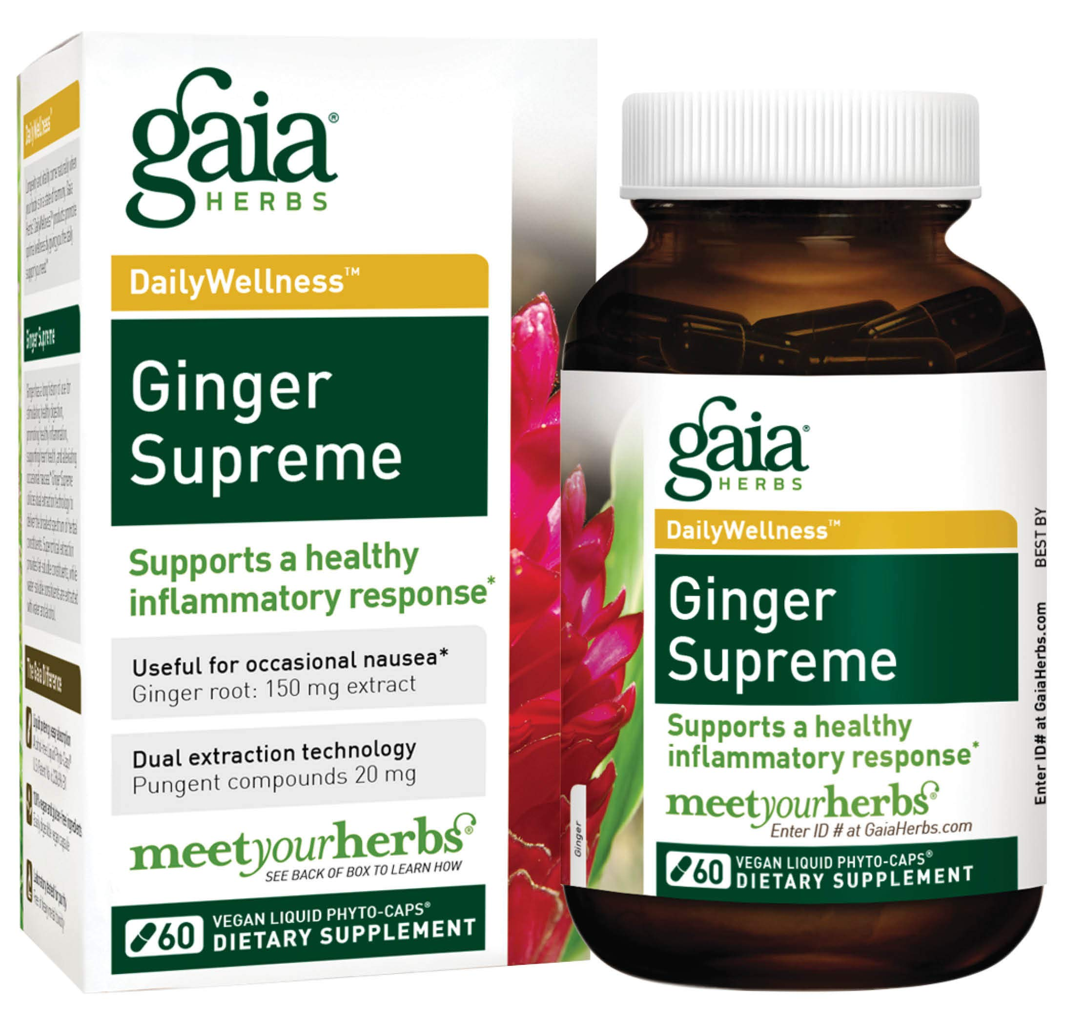 Gaia Herbs Ginger Supreme Liquid Phyto-Capsules, 60 Count